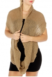 wholesale O51 Silver lurex wide infinity knit scarf BR