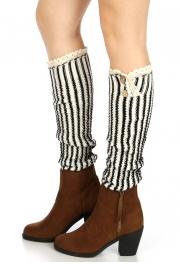 Wholesale T31 Buttoned vertical stripe knit leg warmersWhite/Black