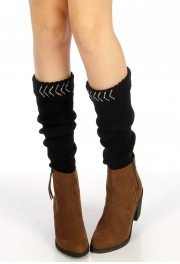 wholesale Studded top ribbed leg warmers Black