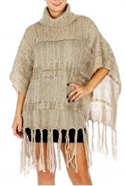 Wholesale O08C Turtle Neck Knit Sweater w/ Tassels BEIGE