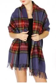 Wholesale S22A Warm plaid oversized scarf Blue