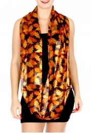 Wholesale G50E Sheer stripe satin-like Autumn leaves print infinity scarf BE