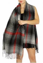 Wholesale U34C Plaid pattern w/ accent oblong scarf BG