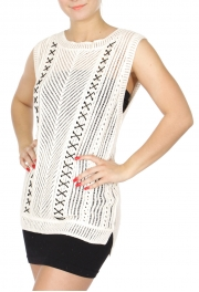 Wholesale N02E Boxy crochet sleeveless top w/ lace up detail Natural