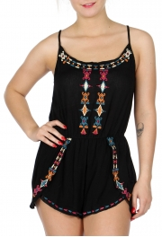 Wholesale J01A Cotton tulip hem embroidered romper BLACK