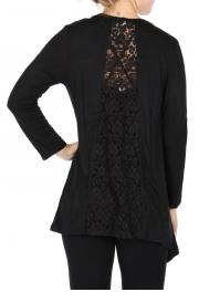 Wholesale Y08D Crochet flower back cardigan Black