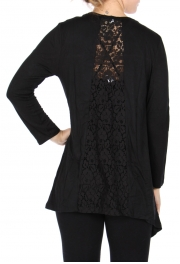 Wholesale Y08D Crochet flower back cardigan Black
