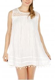 Wholesale O07A Cotton lace neck dress with pompom trim Orange