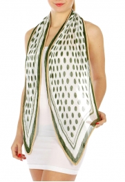 wholesale J04 Pleated dot square scarf Green fashionunic