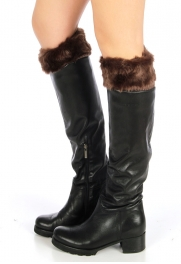 wholesale N32 Cozy fuzzy faux fur leg warmers Brown