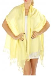 wholesale F09 Solid Pashmina Shawl Light Yellow