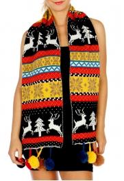 Wholesale Q56B Winter Knit Holiday Pom Pom Scarf BK