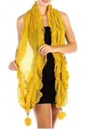 wholesale L37 Stretching lurex ruffle scarf Pompom MD
