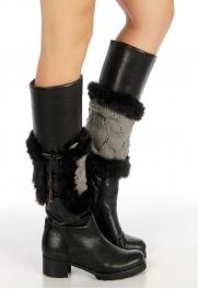 Wholesale U25 Faux fur knit boot cover horn button Grey