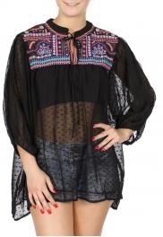 Wholesale H42E Embroidery & sparkles 3/4 sleeve sheer blouse BLACK