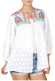Wholesale H41A Balloon sleeve polka dot jacquard cardigan w/ embroidery BLACK