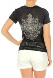 wholesale Short sleeve burnout cotton T rhinestone BK