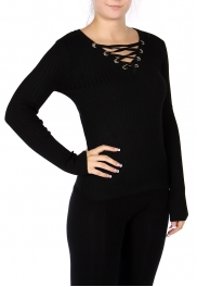 Wholesale E50 Cotton blend lace up sweater Black