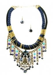 Wholesale L35B Multi bead drop necklace set RGBL