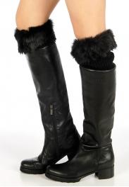 Wholesale BX00 Rib knit w/faux fur cuff leg warmers Black