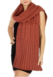 wholesale Oversized cable knit ribbed scarf D.Grey fashionunic