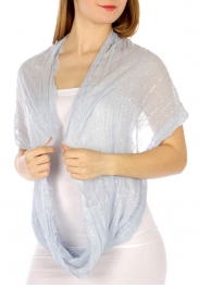 Wholesale H11 Shirred metallic infinity scarf LTBL