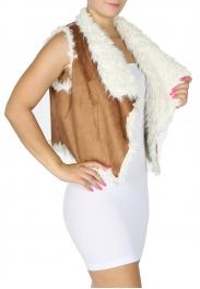 Wholesale O00D Stylish Faux Fur Short Vest BLK