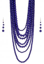 Wholesale M24E 7 Multi Layer Pearl Beads Necklace Set  BL