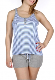 Wholesale E11 Striped tank & solid shorts pj set Blue