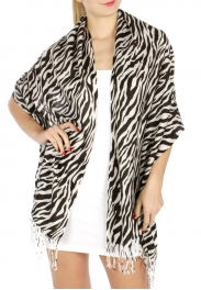 wholesale D20 Print Tiger Pashmina 066 White fashionunic