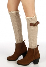Wholesale P27 Embellished cable knit leg warmers NT