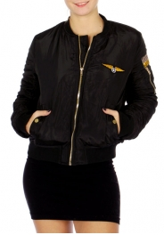 Wholesale N13B Pilot Patches Contemporary Bomber Jacket Black