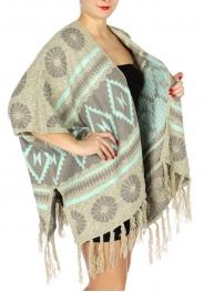 Wholesale N08A Tribal printed sweater ruana Mint