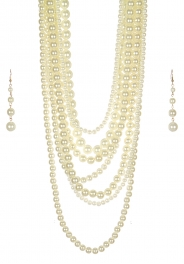 Wholesale M24E 7 Multi Layer Pearl Beads Necklace Set  CP