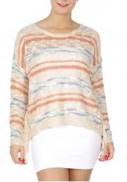 Wholesale T19 Fringed knit sweater Beige fashionunic