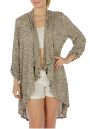 Wholesale G06 Marled open front cardigan Beige
