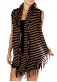 Wholesale P16D Long Stripe Fringy Infinity Scarf BK