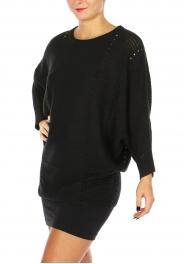 Wholesale N17D Round neck Knit Top BLACK