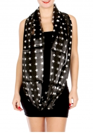 Wholesale G49D Sheer stripe satin-like star print infinity scarf BK