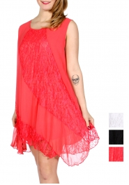 Wholesale I14B Diagonal lace insert sleeveless short dress