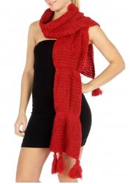 wholesale Curve long knit pompom scarf Red