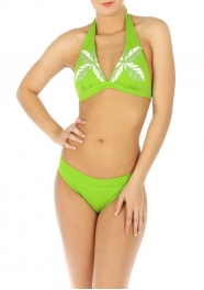 wholesale H11 Palm leaves bikini swimsuit Green