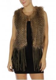 Wholesale O00E Chevron Faux Fur Vest w/ Tassels BRW