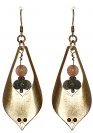 Wholesale WA00 Stone & metal teardrop earrings GB