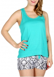 Wholesale E13D Solid tank & snake skin print shorts pj set Teal