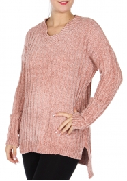 Wholesale T86B High-low V neck sweater Dusty Pink