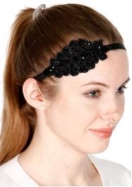 wholesale Stone studded leaf headband Black