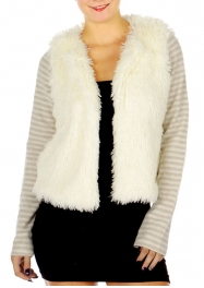 Wholesale O02E Contrast Faux Fur Jacket Cream/Taupe