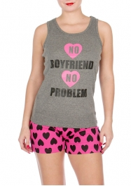 "Wholesale U37C ""No boyfriend, no problem"" 2pcs tank/shorts PJ set Gray"