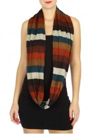 Wholesale U33A Multicolor stripe fashion infinity scarves assorted color Dozen